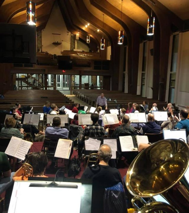 Ramsey Wind Symphony rehearsing with Patrick J. Burns